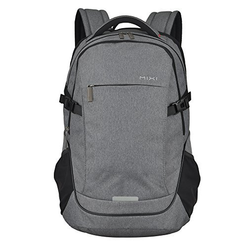 MIXI Laptop Backpack for Men Women Business Travel Backpack Water Repellent Computer Bag Durable College School Backpack with USB Charging Port Fits 15.6'' Laptop and Notebook(Grey-19inch) by Mixi (Image #2)