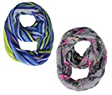 Peach Couture Geometric and Floral Vibrant Infinity Loop Scarves Blue and Grey offers