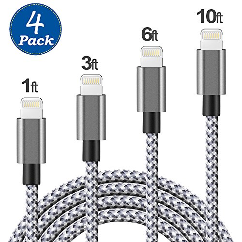 (4 Pack) Lightning Cable, 1FT 3FT 6FT 10FT Durable Lightning to USB Cable Nylon Braided Fast Charge and Data Sync Cord for iPhone 7 Plus 6s Plus 6 5s 5c 5,iPad Air / mini / 4th Gen, iPod nano/touch (5 Packs Original)