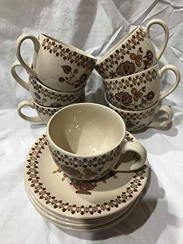 Vintage Set of Seven Johnson Bros. Staffordshire Old Granite Jamestown Ceramic Cup and Saucer - Cup Saucer Staffordshire