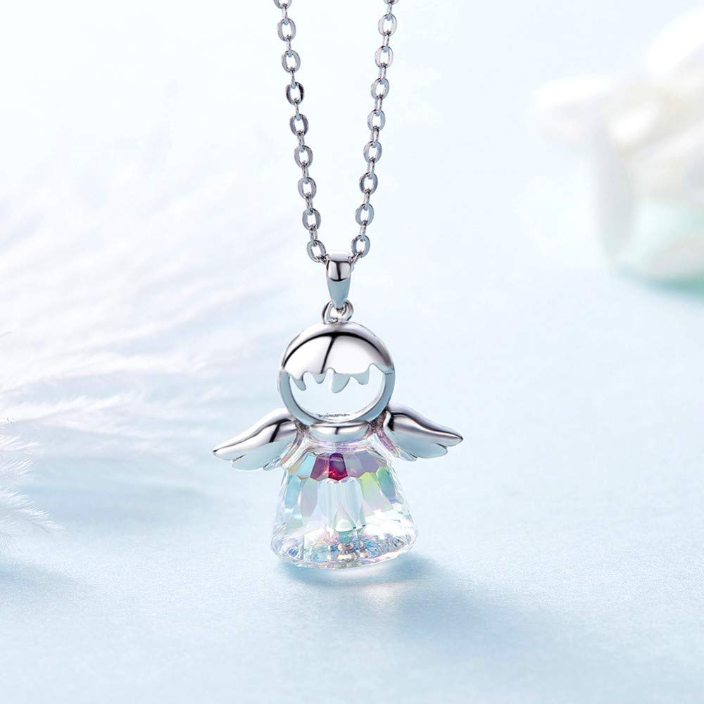 THTHT 925 Sterling Silver Angel Elf Wings Crystals Pendant Necklace Dreamlike Charms Gifts for Girls 45Cm+5Cm Chain
