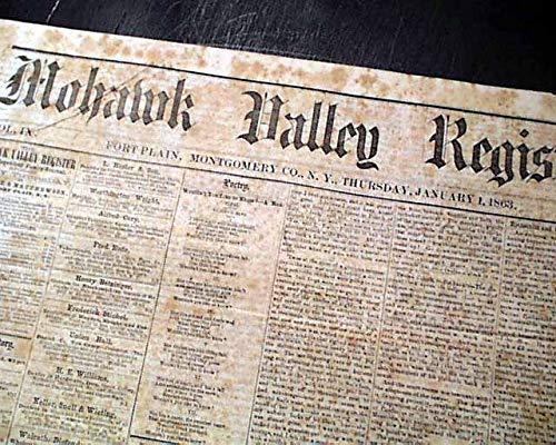 Rare FORT PLAIN NY Montgomery County New York 1863 Civil War Era Newspaper MOHAWK VALLEY REGISTER, Fort Plain, New York, Jan. 1, 1863