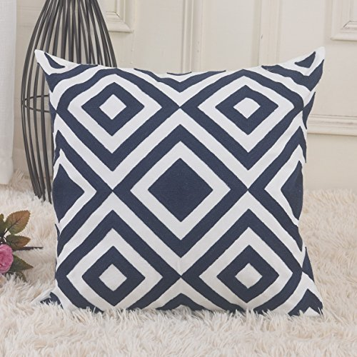 HOME BRILLIANT Canvas Geometric Throw Pillow Patio Embroidery Cushion Cover Case with Zipper, 18 x 18, Navy Blue