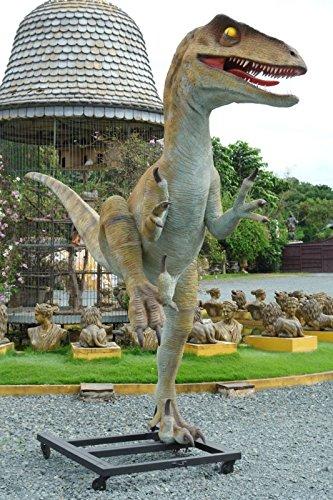 Utah Raptor Life Size Dinosaur Garden Statue (Jurassic Park Velociraptor)
