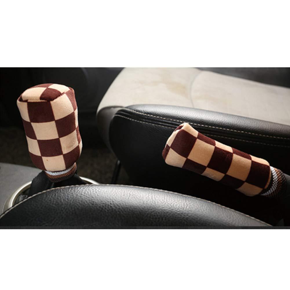 Hnyg Set di 2 manopole per freno a mano copertura per pomello del cambio in pile decorazione per interni auto