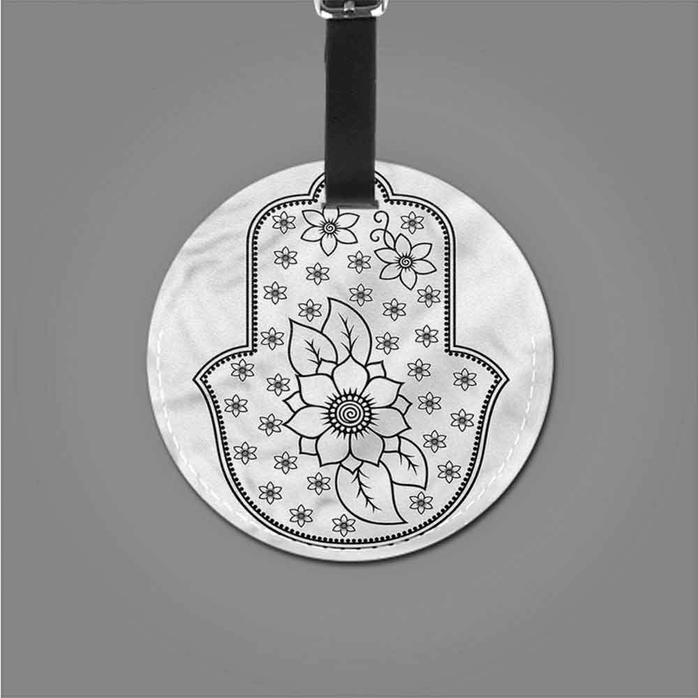 Cute Luggage Tag Hamsa,Ancient Lotus Flower Romantic