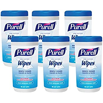 PURELL Hand and Face Sanitizing Wipes -  Clean Refreshing Scent Non-Alcohol Wipes, 40 Count Canisters (Case of 6) - 9120-06-CMR