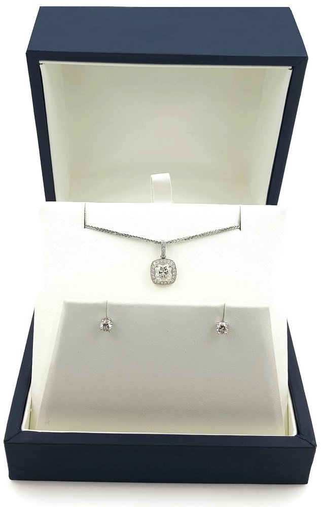 Deluxe Jewelry Gift Box Necklace/Earring Display ( 4.5'' x 4.5'' x 2.625''H - Matte Dark Navy)