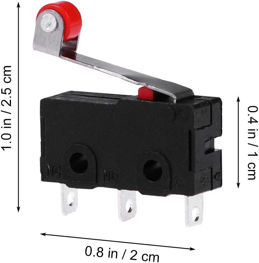 perno Roller brazo SPDT de disparo r/ápido micro interruptor de extremo largo BM-15-1C25 10 miniinterruptores de palanca SPDT con microinterruptores de palanca larga