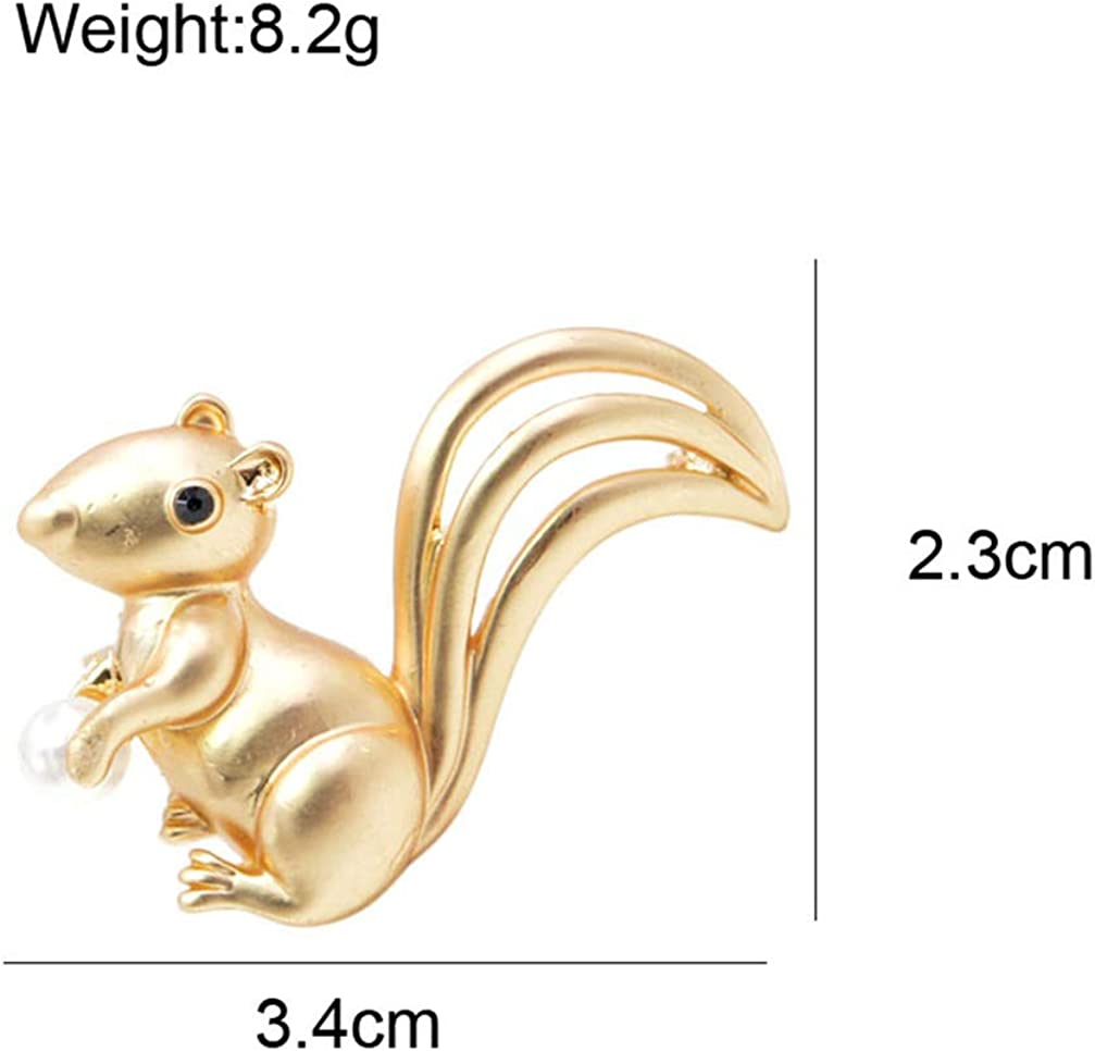 GF.DTR Cute Small Squirrel Brooches for Women Animal Men and Kids Jewelry Brooch Pin Matte Style