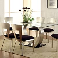 247SHOPATHOME Idf-3728T-7PC Dining-Room, 7-Piece Set, Black
