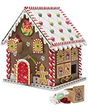 HearthSong 730067 Wooden Gingerbread House Countdown to Christmas Advent Calendar 10.5 x 8 x 9.5 H