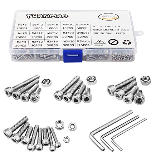 304 Stainless Steel Screws and Nuts, M3 M4 M5 Hex Socket Head Cap Screws Assortment Set Kit with Storage Box (480 Packs) by THANMAO