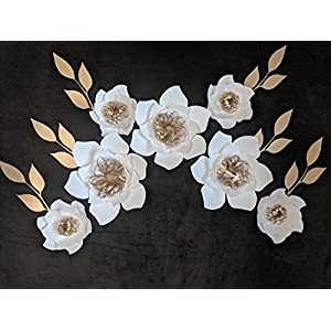 Medium Size Flowers for Wall Decor - Includes 7 Paper Flowers and 6 Paper Leaves - Fully Assembled - Customize Colors. 36