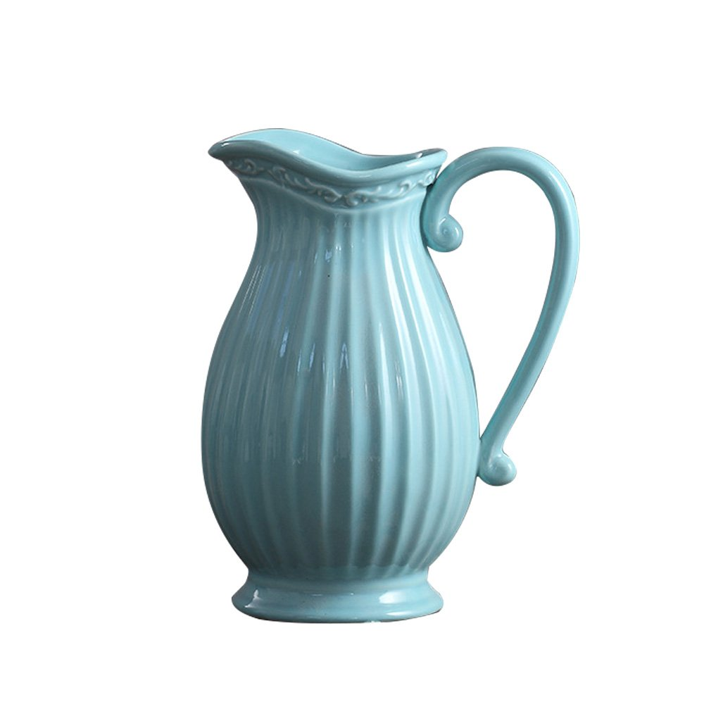 Jomop Decorative Pitcher Embellished Pitcher Ceramic Vase Home Decor Gift (9.8 in, Blue)