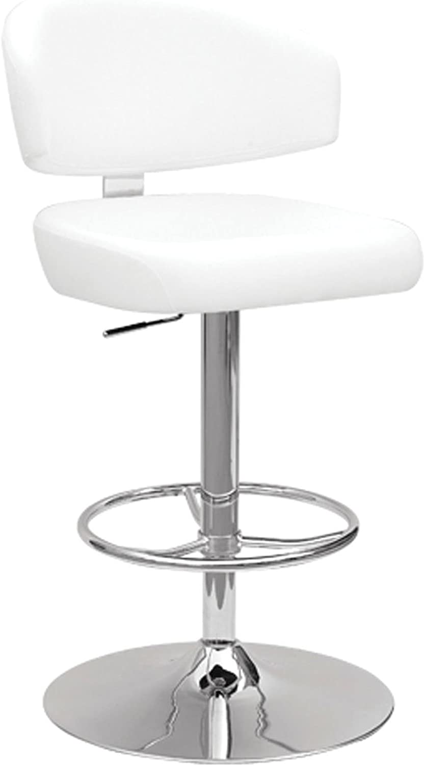 ACME Deka White Faux Leather Stool with Swivel and Adjustable Height