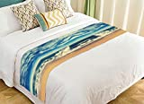 PicaqiuXzzz Custom Ocean Wave Bed Runner, Serenity Beach Bed Runners And Scarves Bed Decoration 20x95 inch