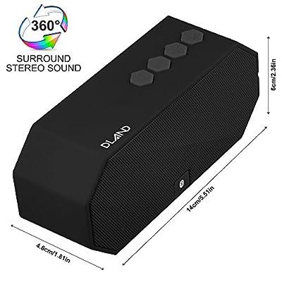 DLAND Water Resistant Wireless Bluetooth Speaker - IPX6 Waterproof, HD Audio, Built-in Mic, Support 3.5 mm Audio Jack