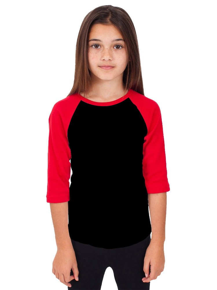 Hat and Beyond RD Kids 3/4 Raglan Sleeves T Shirt Child Youth Slim Fit T Shirts (Small (4-5 Year), Black/Red)