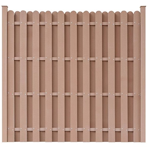 - BestHomeFuniture Garden Fence Panel WPC Outdoor Privacy Screen Square Barrier Enclosure, Brown