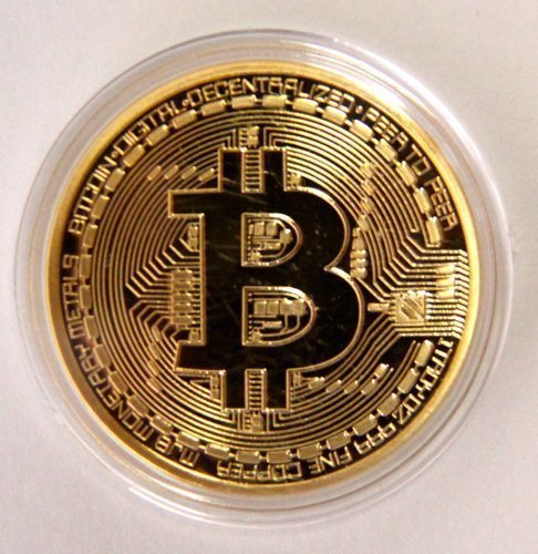 .999 Fine Gold Bitcoin Commemorative Round Collectors Coin - Bit Coin is Gold Plated Copper Physical Coin by Gold Bitcoin BitCoin Shop