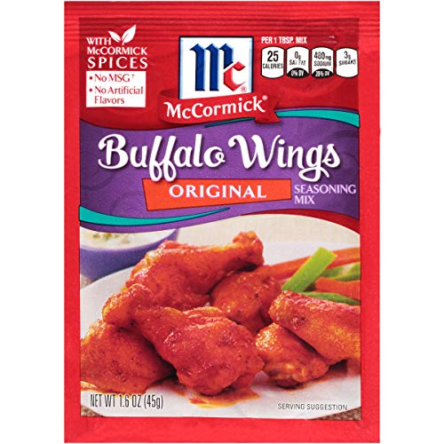 (McCormick Original Buffalo Wing Seasoning Mix, 1.6 oz, Signature Blend of All-Natural Herbs and Spices Like Garlic, Chili Pepper and Paprika, Great for Chicken Wings or Tenders (Pack of 12) )