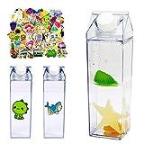 Clear Milk Carton Water Bottle, 500 ml Square Water Bottle Juicing Bottles, Portable Clear Cute Water Bottle Crystal Carton Water Bottle for Kids, with 70 Pieces Fresh Cartoon Waterproof Stickers
