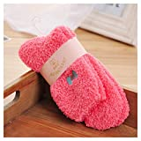 Women's Candy Color Sweet Bow Fuzzy Socks Autumn Winter Cozy Socks Bed Socks (Yellow)
