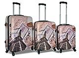 Cheap Dejuno 3-Piece Printed Lightweight Hardside Spinner Upright Hard Case Luggage Set – Paris Stamp (Pink)
