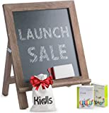 Premium Wood Framed Rustic Standing Chalkboard 12 x 16. Non-Porous Vinyl Surface. For Home, Bars, Restaurants and Weddings - for the Vintage Look! FREE BONUS: 24 chalks + Eraser + Storage Bag
