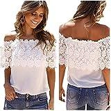 Women Blouse,Haoricu Sexy Women Off Shoulder Casual Tops Blouse Lace Crochet Chiffon Shirt