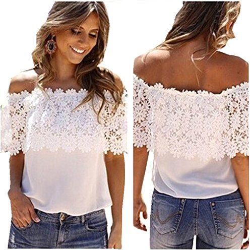 haoricu Women Blouse, Sexy Women Off Shoulder Casual Tops Blouse Lace Crochet Chiffon Shirt (XL, White)
