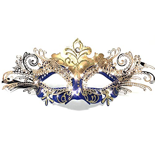 Storm Buy] Lady/Women/Girls Luxury Shiny Rhinestone Venetian Masquerade Mask Halloween Cosplay Prom Ball Party (Blue & Gold) -