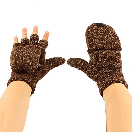 Men's Thinsulate 3M Thick Wool Knitted Half Mitten Suede Palm Gloves L/XL Brown (Glove Suede Palm)