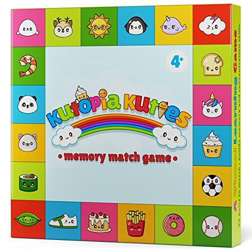 Memory Match Game for Kids - Sharpens Focus, Recognition & Visual Learning - with the Kutopia Kuties - Super Cute Kawaii Characters