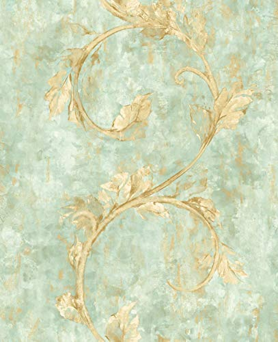 (Modern Floral Wallpaper Blue Green Shimmer Gold Scrolls and Rolling Wheat)