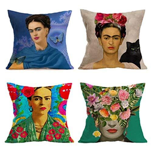 Joyi 4PCS Frida Kahlo Self-Portrait Cotton Linen Pillow Case Cover,18
