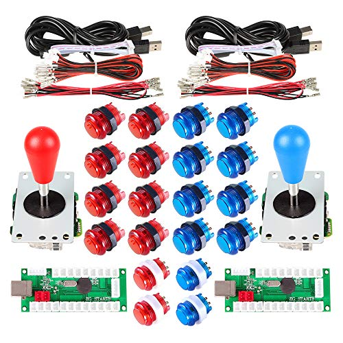 - Avsiri 2 Player LED Arcade DIY Parts 2X USB Encoder + 2X Ellipse Oval Style Joystick + 20x LED Arcade Buttons for PC MAME Raspberry Pi Windows (Red & Blue Kit)