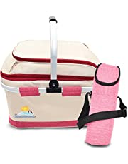 summerease Insulated Collapsible Picnic Basket with Extra Wine Bag Lightweight & Foldable Cooler Bag for Grocery, Car, Camping, Hiking Or Laundry | Two Spacious Main Compartments