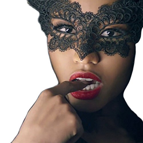 Robiear Halloween Prom Party Cosplay Hollow Out Catwoman Masquerade Black Lace (Lace Cat Mask)