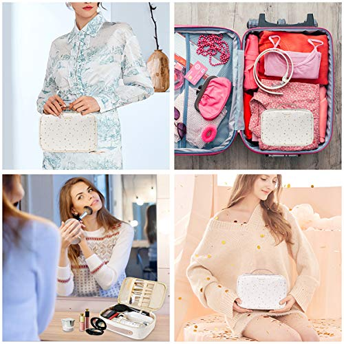 Lawiish Travel Makeup Bag, Cosmetic Bag for Woman Portable Train Cosmetic Case Organizer for Cosmetics Makeup Brushes Clear Toiletry Bag Included