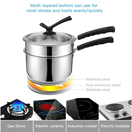Double Boiler&Classic Stainless Steel Non-Stick Saucepan,Melting Pot for Butter,Chocolate,Cheese,Caramel and Bonus with Tempered Glass Lid by JKsmart (Image #3)