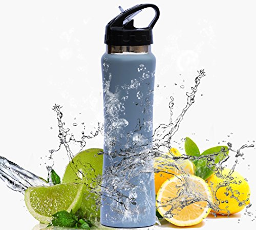 Sports Water Bottle Long Straw: BlissActive Stainless Steel Insulated Water Bottle, Wide