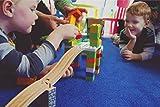 Wooden Railway Block Platform 4-Pack Combine Trains and Lego Duplo Compatible With Thomas Brio Ikea Imaginarium Melissa & Doug Kidkraft Mega Bloks Adapter Connector