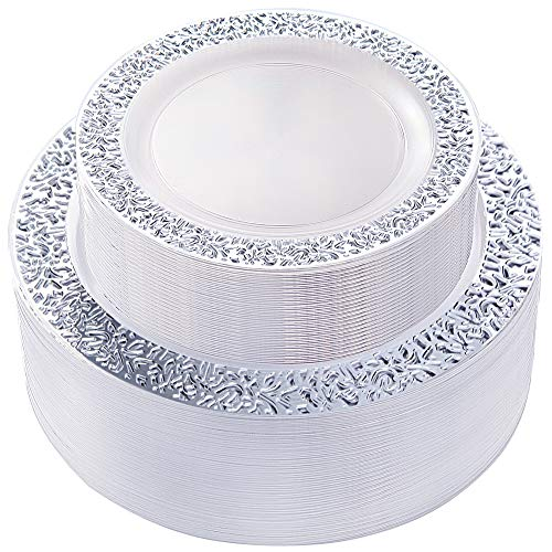 IOOOOO Silver Plastic Lace Plates, Silver Disposable Plates 96 Pieces Includes: 48 Dinner Plates 10.25 Inch and 48 Salad Plates 7.5 Inch (Silver Edge Plates)