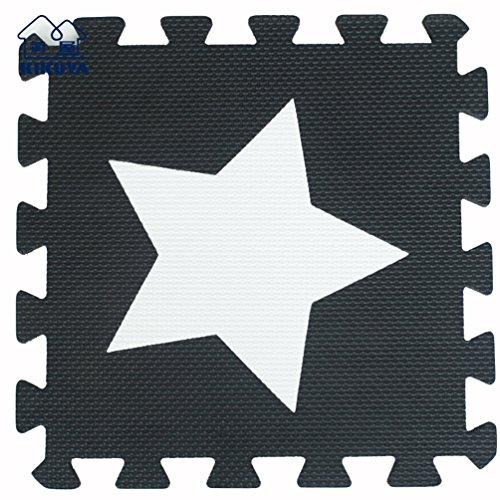 Tianmei 30x30cm Spiel-Matten für Kinder Weiche Puzzle Mats EVA-Schaum-Matten Bodenbelag Matten, 24 Optionen (20tlg, Schwarzweiss-Sternchen)