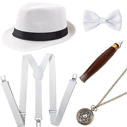 (BABEYOND 1920s Mens Gatsby Costume Accessories Set 30s Panama Hat Elastic Y-Back Suspender Pre Tied Bow Tie Pocket Watch and Plastic Cigar (White Set)