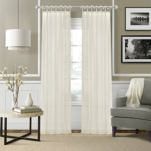 Elrene Home Fashions Juvenile Teen Or Tween Tab Top Sheer Single Window Panel Curtain Drape, 50