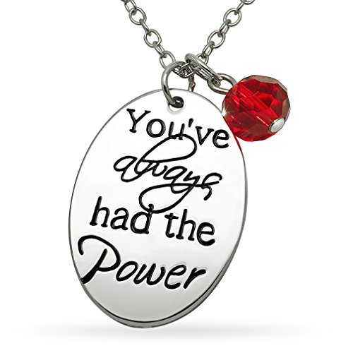 Oval Message Bead - Katie's Style Sentimental Necklace You've Always Had The Power Message Red Crystal Bead Charm Pendant