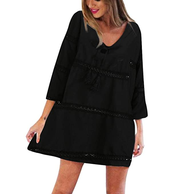 Damen Elegant Kleider T Shirt Kleid Spitze Langarmkleid